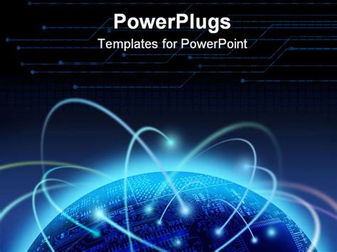 templates powerpoint electronics binary information flow around the world globe powerpoint