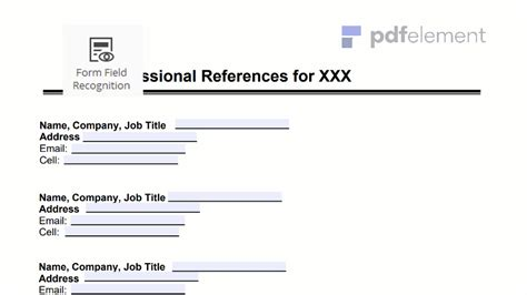 professional references template free create