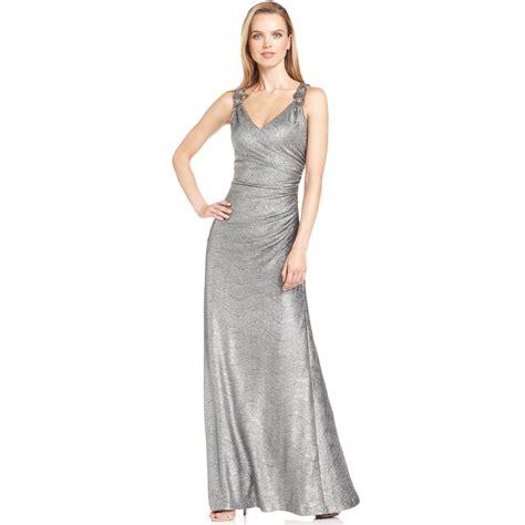 Calvin Klein Silver lyst calvin klein dress in metallic