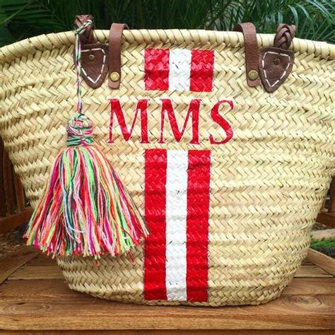 monogrammed straw bag personalized beach bag custom