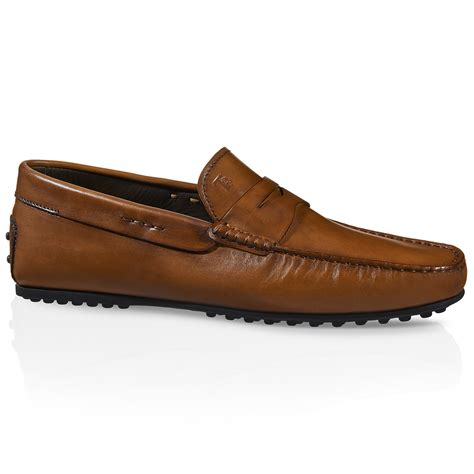 tod loafers for tod s city gommino leather loafers in brown for lyst
