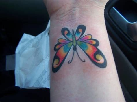 coloured wrist tattoos butterfly images designs