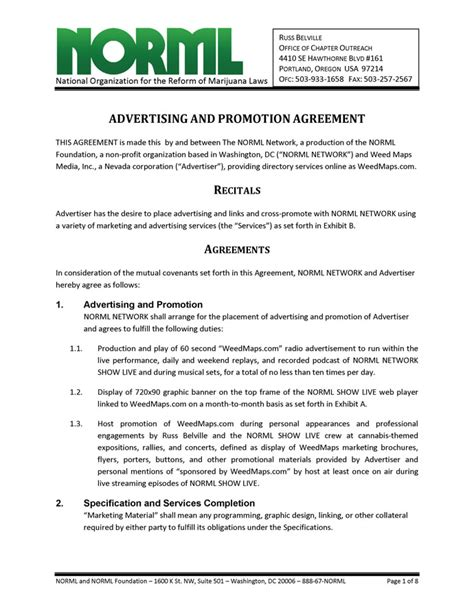 business contract template free advertising and promotion agreement norml network and