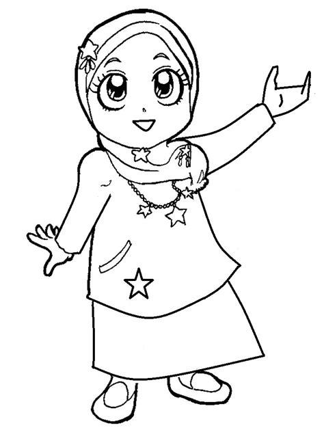 gambar mewarnai anak muslim annaseha