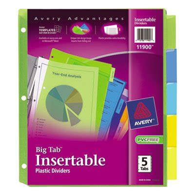 Avery Big Tab 5 Tab Template by Avery Insertable Big Tab Plastic Dividers 5 Tab Letter