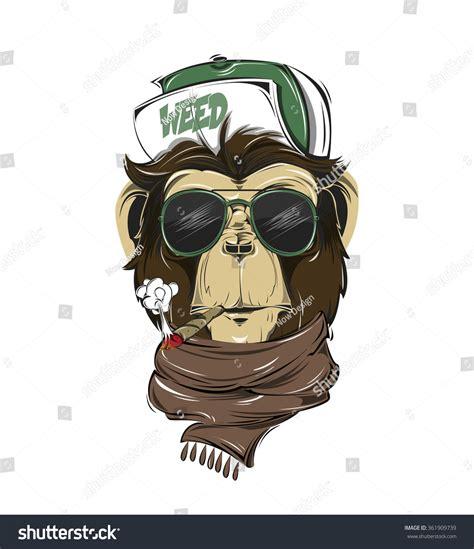 hipster monkey print tshirt monkey modern stock vector