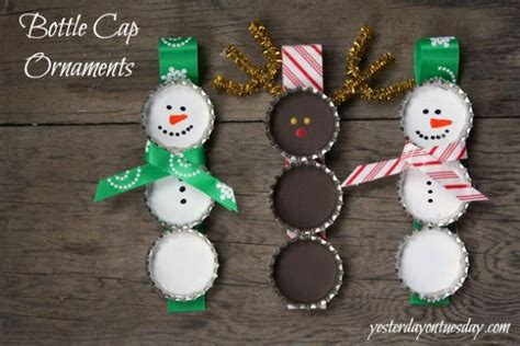 bottle cap ornaments 22 snowflake and snowman crafts that as gifts tip