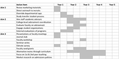 strategic design research journal unisinos gantt chart showing 5 year implementation of detailed