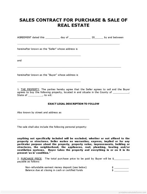 land sale agreement template free printable land contract forms word file