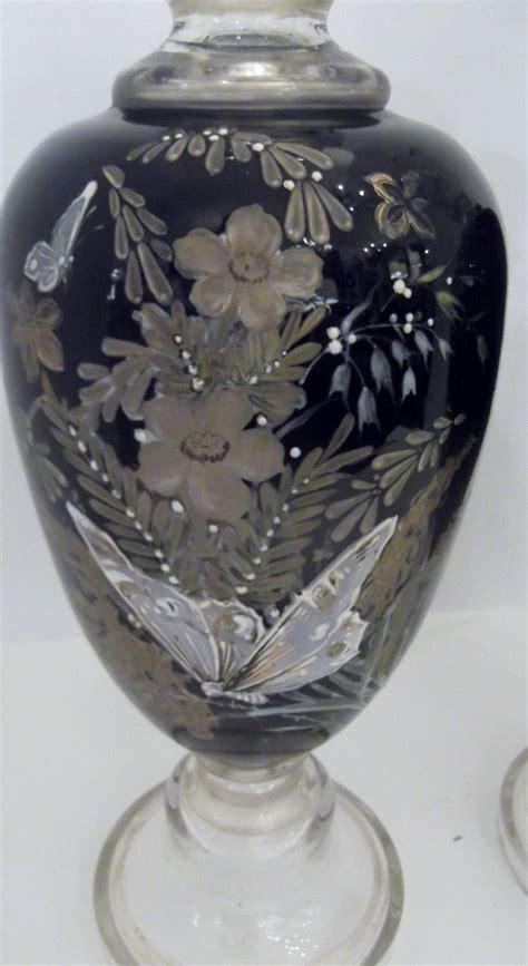 European Vases by Antique Pair Of Enameled European Glass Garniture