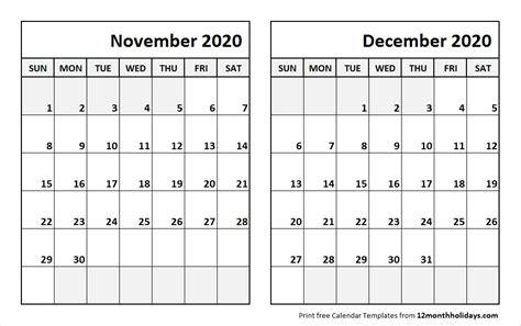 print november december  calendar template  month calendar