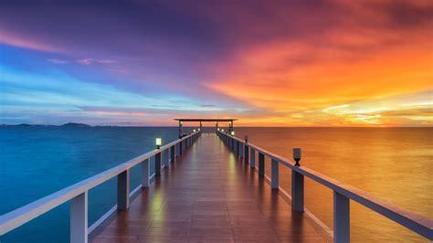 wooden pier  wallpaper sunset horizon resort dawn