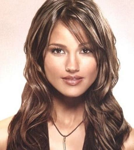 curly layers with side swept bangs layered haircut with side bangs