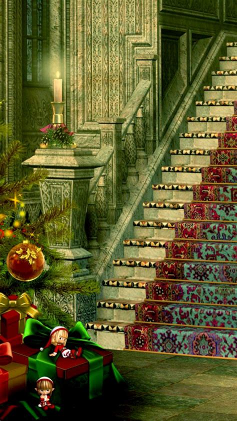 christmas stairs decoration 720x1280 wallpaper