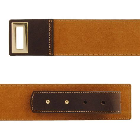 suede leather wide belt with gold buckle paula alonso