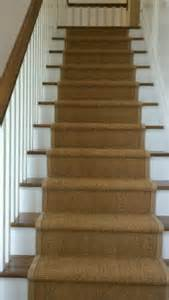 Berber Stair Carpet by Installed Sisal Berber Runner Carpeting On Stairway In