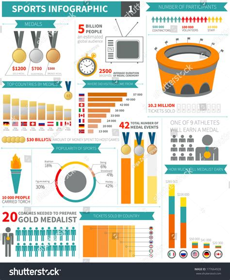 sport infographic elements sle numbers flags stock