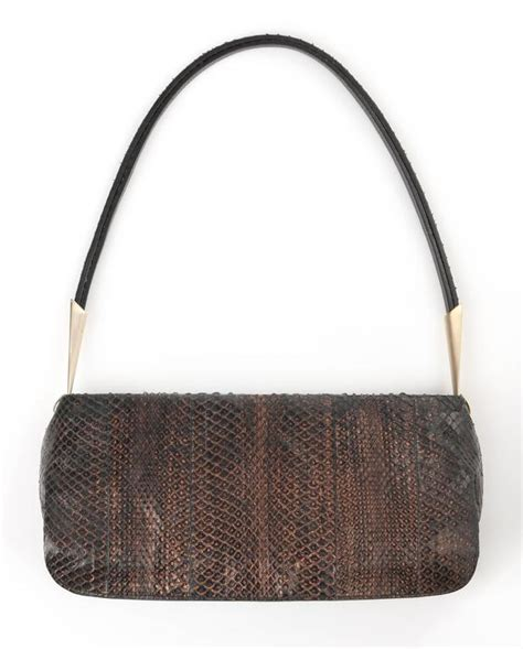 Bottega Veneta Toggle Baguette by Bottega Veneta Bronze Metallic Snakeskin Leather Baguette