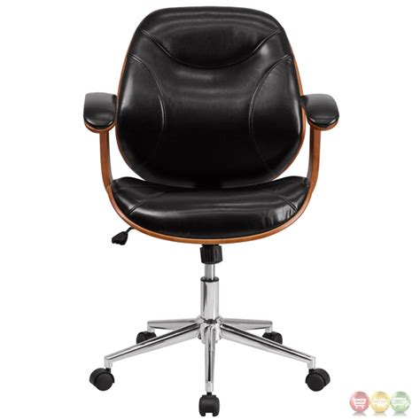 wood and leather swivel desk chair mid back black leather executive wood swivel office chair