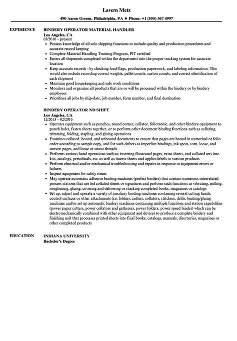 Bindery Operator Sle Resume by Operator Sle Resume Sle Of Social Worker Resume Scholarship Essay Exle