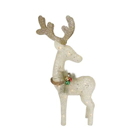 37 quot lighted sparkling sisal white reindeer christmas yard