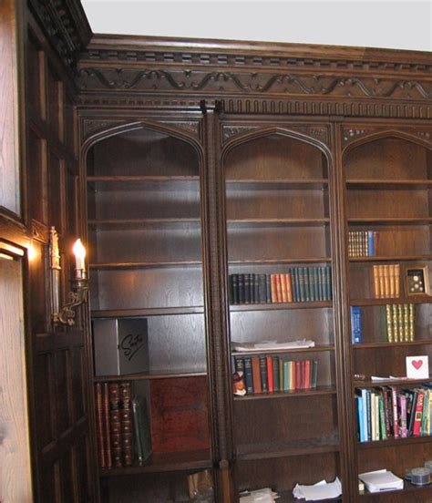 library style bookshelves tudor style home library bookcases by masterpiece