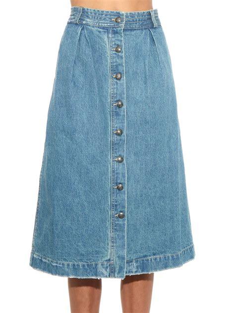 sea a line denim skirt in blue lyst