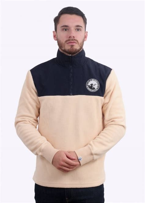 Jaket Zipper Hoodie Sweater Billioners Boys Club billionaire boys club half zip funnel sweatshirt beige navy jackets from triads uk