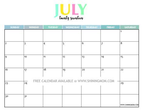 Free Printable July 2017 Calendar