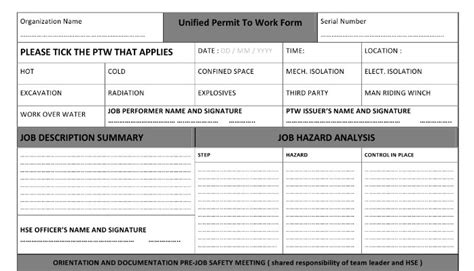 unified permit to work form part one of three linkedin