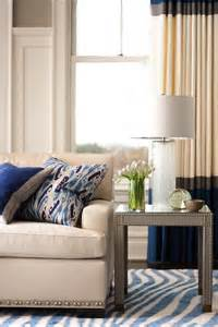 White Curtains With Blue Trim Decorating Gray Paneled Living Room Walls Design Ideas