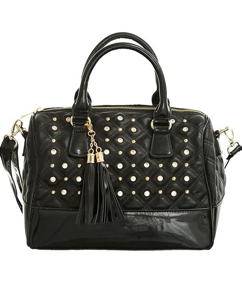 Tas Brand Top Quilted Satchel Sale Purse Boutique Black Studded Quot Glossy Trim Quot Structured