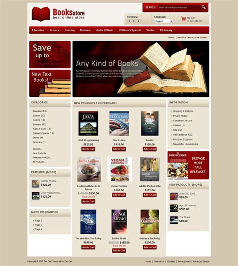 zen020033 premium zencart book store template
