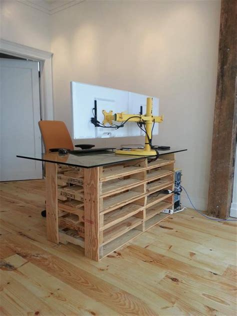 office pallet desk with glass top pallet furniture diy
