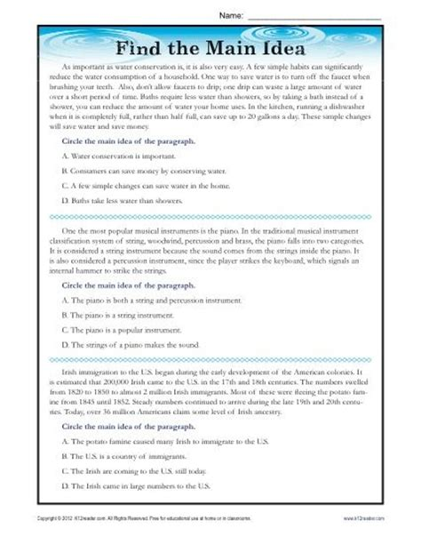 printable main idea quiz high school main idea reading passage worksheet