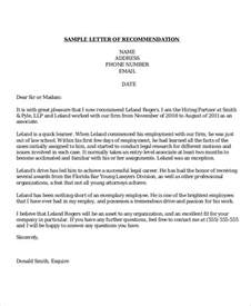 Business Letters Of Recommendation Exles Sle Recommendation Letter 8 Exles In Word Pdf