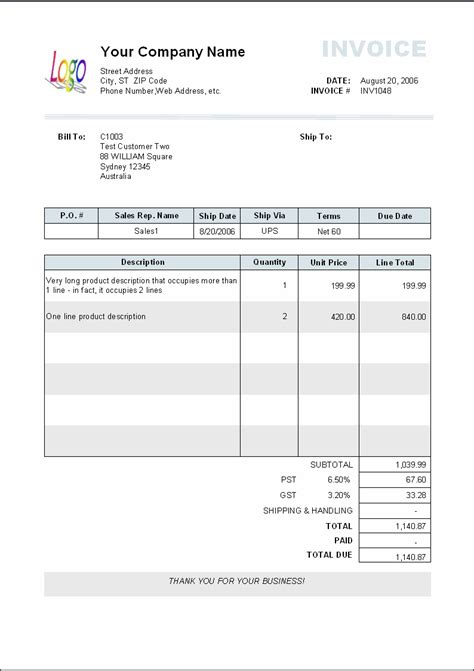 proforma invoice template pdf invoice sample template