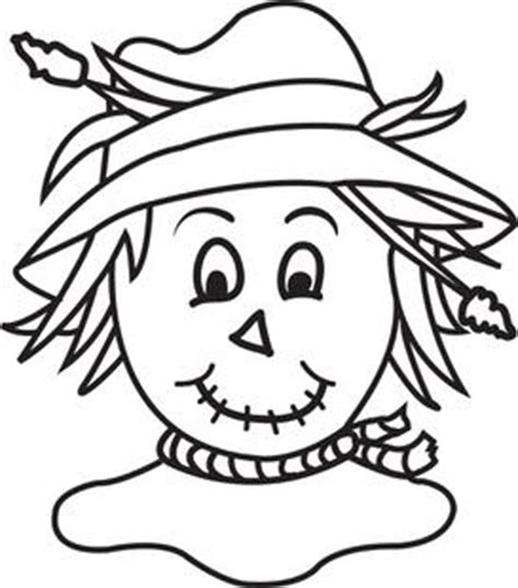 fall scarecrow clip art black white sketch coloring page