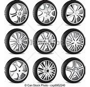 Vector Clipart Of Automotive Wheel With Alloy Wheels And