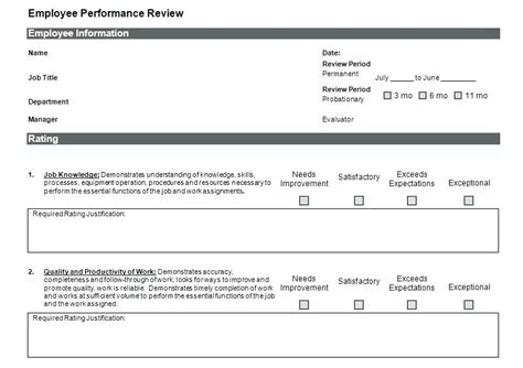 Employee Review Template Excel Monthly Employee Review Template Unique Employee Information Employee Performance Evaluation Sle Template