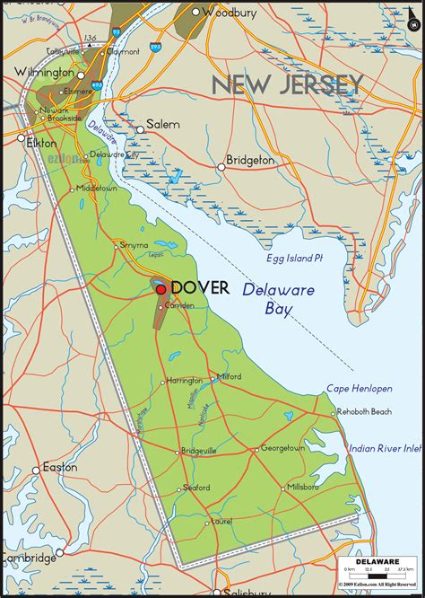 detailed map of delaware physical map of delaware ezilon maps