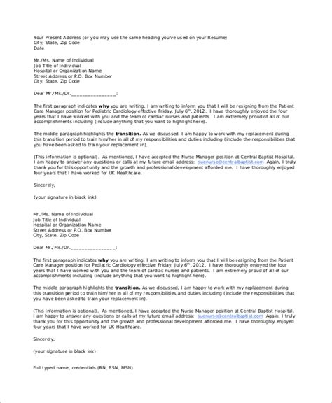 hospital letter template doc 638826 hospital resignation letter application and