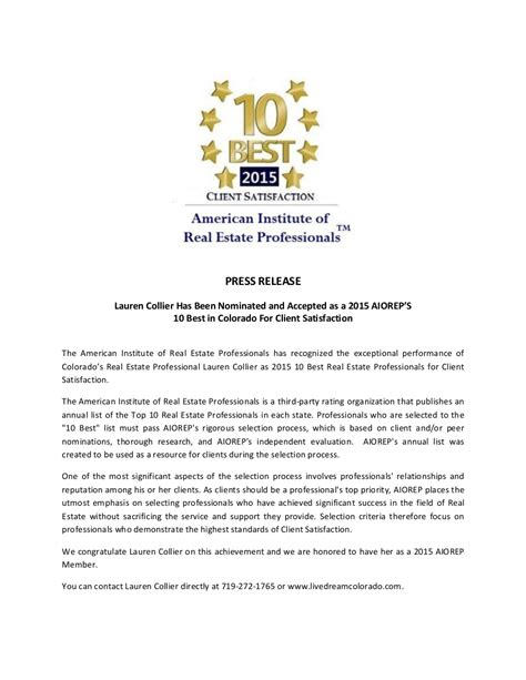 sle of press release collier named 10 best real estate professionals live colorado sell a house in