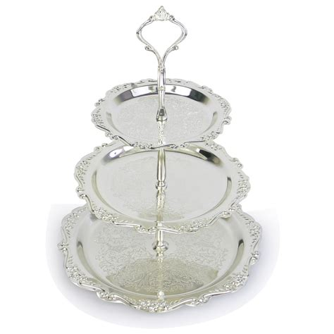 3 Tier Stainless Steel Serving Tray Cake Plate Stand Cupcake Fruit Holder Rack Wedding