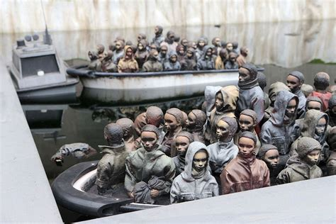 dismaland refugee boat banksy says dismaland will become shelter for migrants