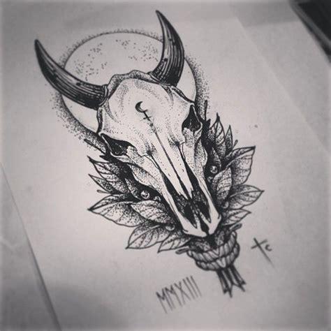 tattoo pen livestock mystic grey ink bull skull with leaves on full moon