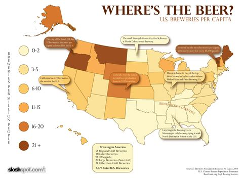 breweries map u s breweries per capita map visual ly
