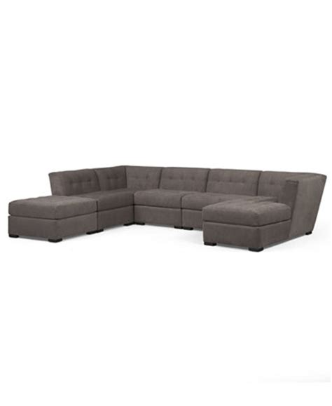 fabric chaise sectional with ottoman roxanne fabric 6 modular sectional sofa w ottoman