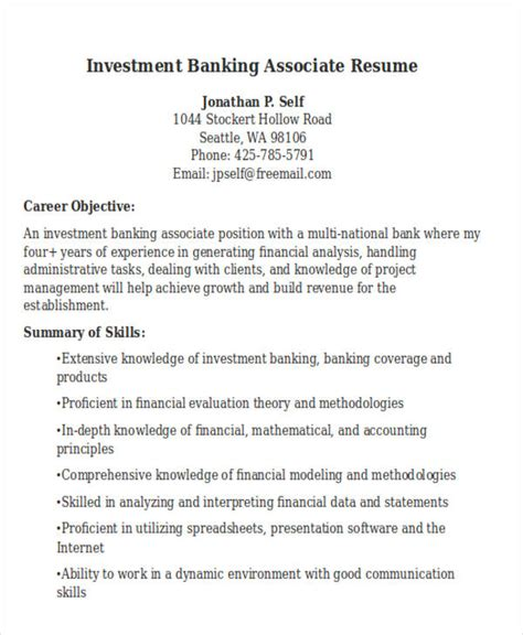 Investment Associate Sle Resume by 21 Banking Resume Templates Pdf Doc Free Premium Templates
