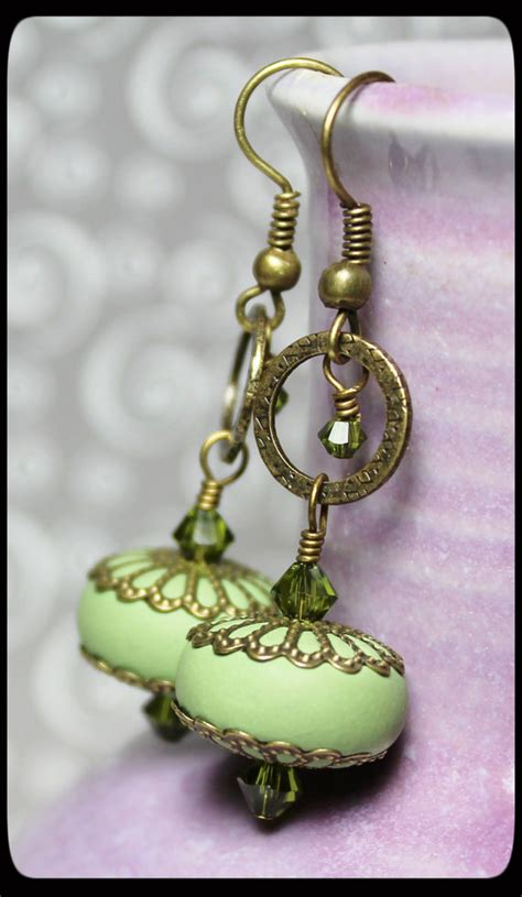 Handmade Polymer Clay Jewelry - handmade jewelry earrings beaded olive green polymer clay
